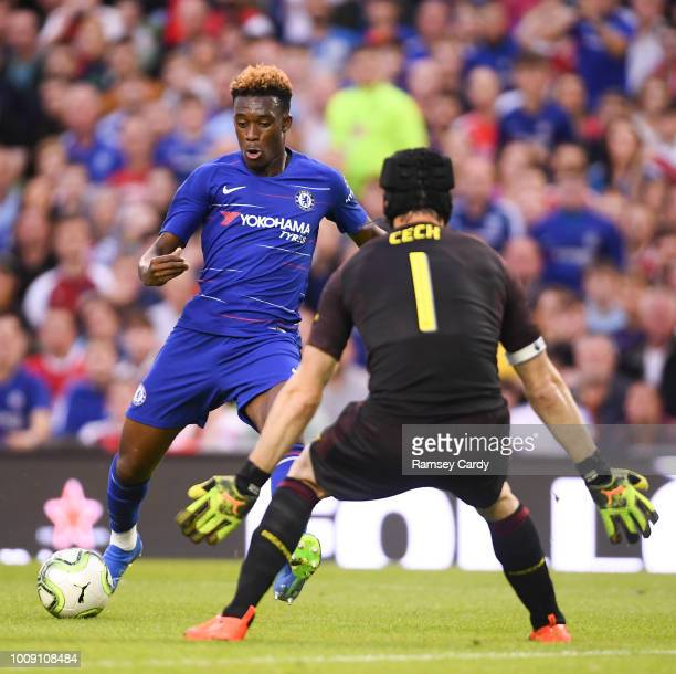 Dublin Ireland 1 August 2018 Callum HudsonOdoi of Chelsea in action against Petr ech of Arsenal during the International Champions Cup match between...