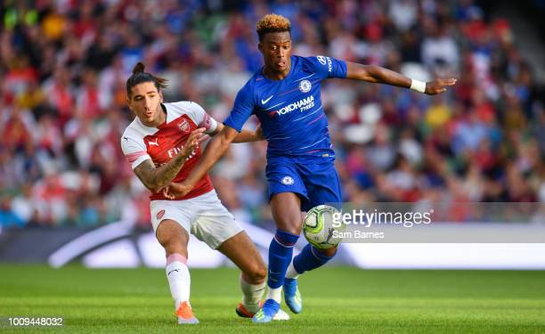 Dublin Ireland 1 August 2018 Callum HudsonOdoi of Chelsea in action against Héctor Bellerín of Arsenal during the International Champions Cup 2018...