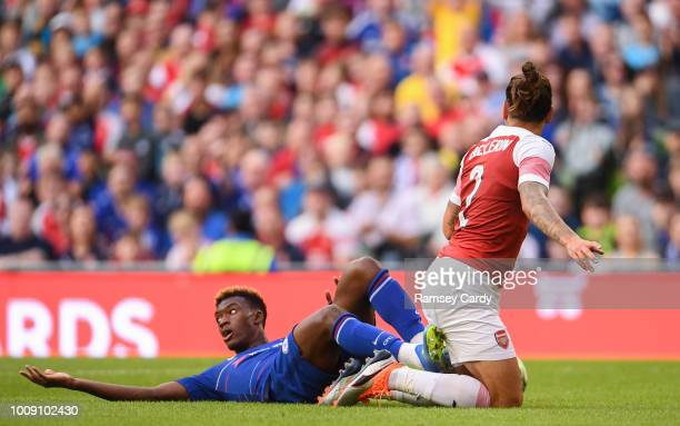 Dublin Ireland 1 August 2018 Callum HudsonOdoi of Chelsea is fouled in the box by Héctor Bellerín of Arsenal leading to a missed penalty by Álvaro...