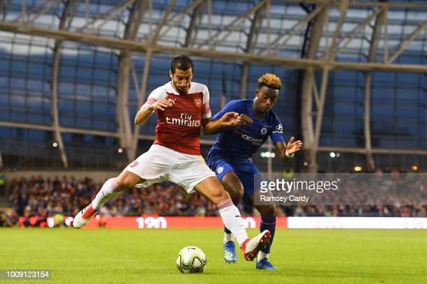 Dublin Ireland 1 August 2018 Henrikh Mkhitaryan of Arsenal in action against Callum HudsonOdoi of Chelsea during the International Champions Cup...