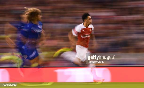 Dublin Ireland 1 August 2018 Mesut Özil of Arsenal in action against Ethan Ampadu of Chelsea during the International Champions Cup match between...