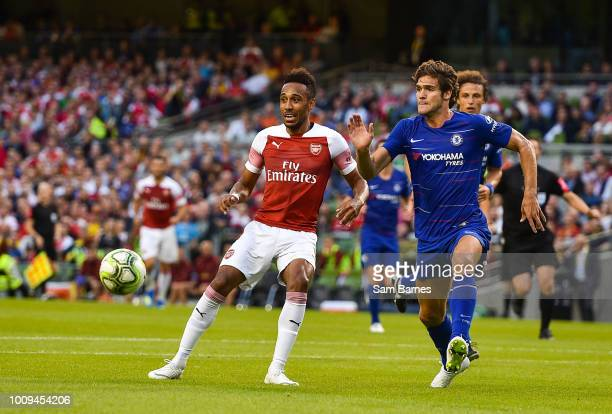 Dublin Ireland 1 August 2018 PierreEmerick Aubameyang of Arsenal in action against Marcos Alonso of Chelsea during the International Champions Cup...