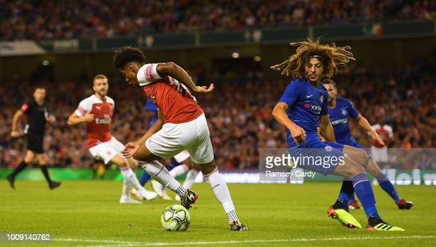 Dublin Ireland 1 August 2018 Reiss Nelson of Arsenal in action against Ethan Ampadu of Chelsea during the International Champions Cup match between...