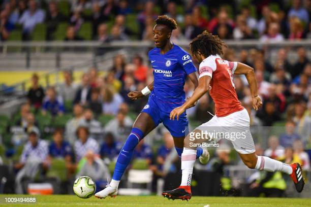 Dublin Ireland 1 August 2018 Tammy Abraham of Chelsea in action against Mohamed Elneny of Arsenal during the International Champions Cup match...