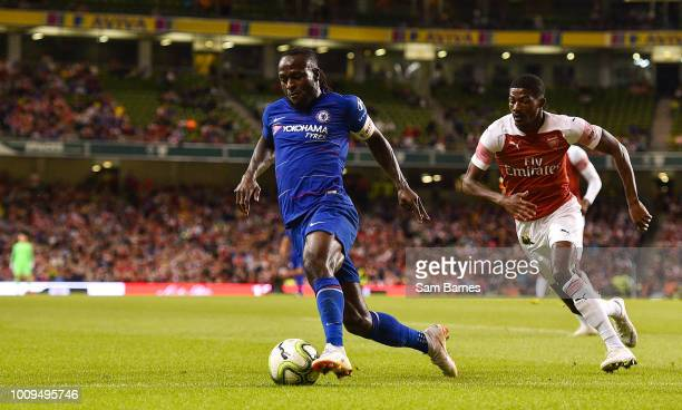 Dublin Ireland 1 August 2018 Victor Moses of Chelsea in action against Ainsley MaitlandNiles of Arsenal during the International Champions Cup match...