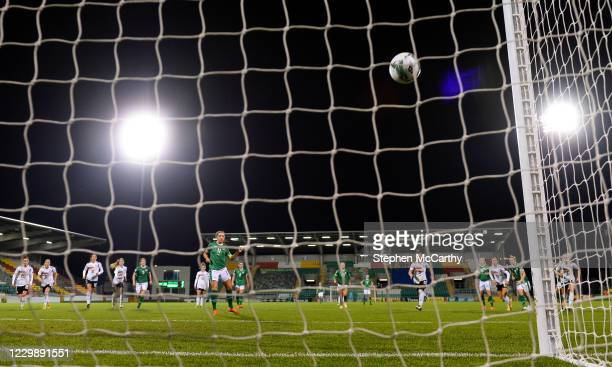 Dublin , Ireland - 1 December 2020; Katie McCabe of Republic of Ireland scores her side's first goal, from a penalty, during the UEFA Women's EURO...