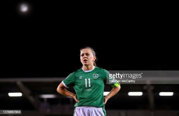 Dublin , Ireland - 1 December 2020; Katie McCabe of Republic of Ireland reacts following the UEFA Women's EURO 2022 Qualifier match between Republic...