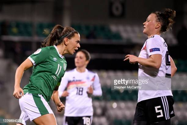 Dublin , Ireland - 1 December 2020; Katie McCabe of Republic of Ireland celebrates after scoring her side's first goal during the UEFA Women's EURO...