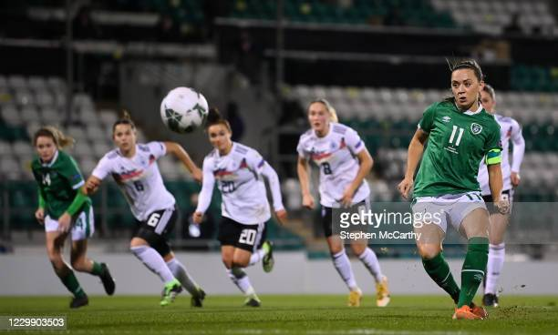 Dublin , Ireland - 1 December 2020; Katie McCabe of Republic of Ireland shoots to score her side's goal, from a penalty, during the UEFA Women's EURO...