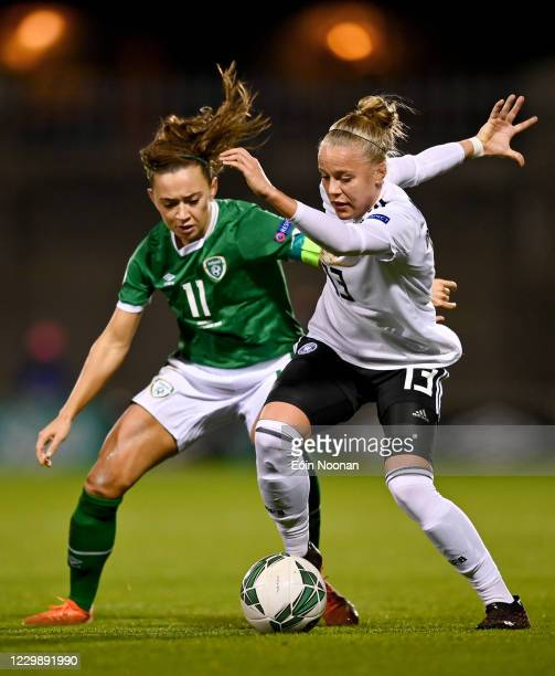 Dublin , Ireland - 1 December 2020; Pia-Sophie Wolter of Germany in action against Katie McCabe of Republic of Ireland during the UEFA Women's EURO...
