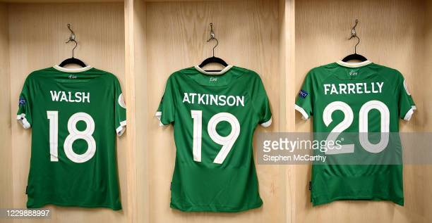 Dublin , Ireland - 1 December 2020; Republic of Ireland jerseys hang in their changing room prior to the UEFA Women's EURO 2022 Qualifier match...
