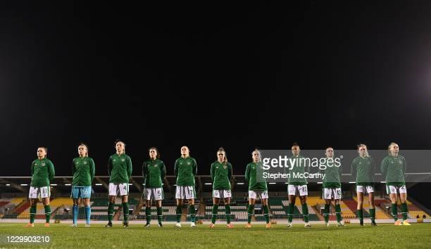 Dublin , Ireland - 1 December 2020; Republic of Ireland players, from left, Katie McCabe, Grace Moloney, Louise Quinn, Niamh Fahey, Diane Caldwell,...