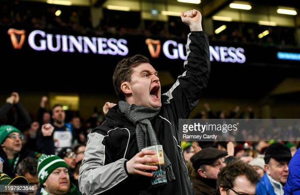 Dublin Ireland 1 February 2020 An Ireland supporter celebates during the Guinness Six Nations Rugby Championship match between Ireland and Scotland...