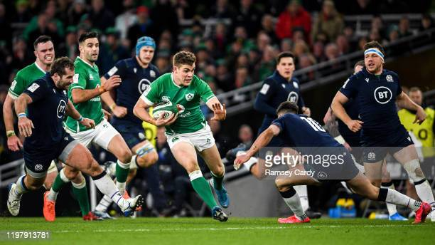 Dublin Ireland 1 February 2020 Garry Ringrose of Ireland in action against Fraser Brown left and Adam Hastings of Scotland during the Guinness Six...