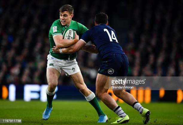 Dublin Ireland 1 February 2020 Garry Ringrose of Ireland is tackled by Sean Maitland of Scotland during the Guinness Six Nations Rugby Championship...