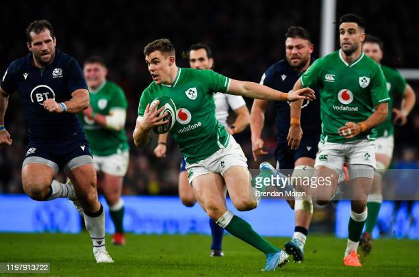Dublin Ireland 1 February 2020 Garry Ringrose of Ireland makes a break during the Guinness Six Nations Rugby Championship match between Ireland and...