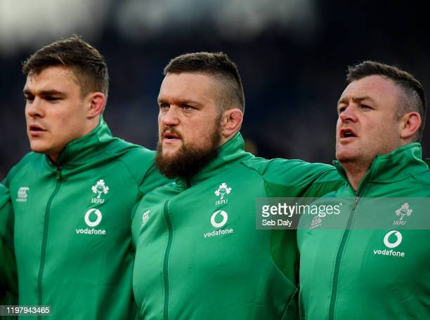 Dublin Ireland 1 February 2020 Ireland players from left Garry Ringrose Andrew Porter and Dave Kilcoyne during the Guinness Six Nations Rugby...