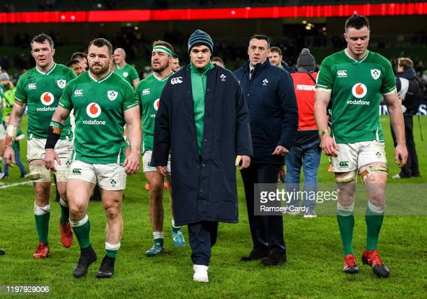 Dublin Ireland 1 February 2020 Ireland players from left Peter O'Mahony Cian Healy Garry Ringrose and James Ryan following the Guinness Six Nations...