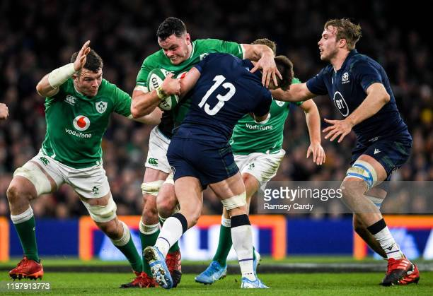 Dublin Ireland 1 February 2020 James Ryan of Ireland is tackled by Huw Jones of Scotland during the Guinness Six Nations Rugby Championship match...
