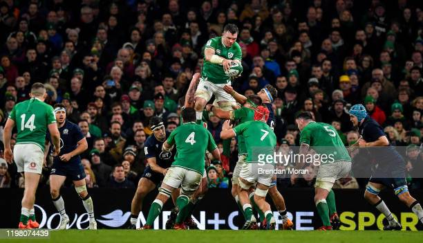 Dublin , Ireland - 1 February 2020; Peter O'Mahony of Ireland takes possession in the line-out during the Guinness Six Nations Rugby Championship...
