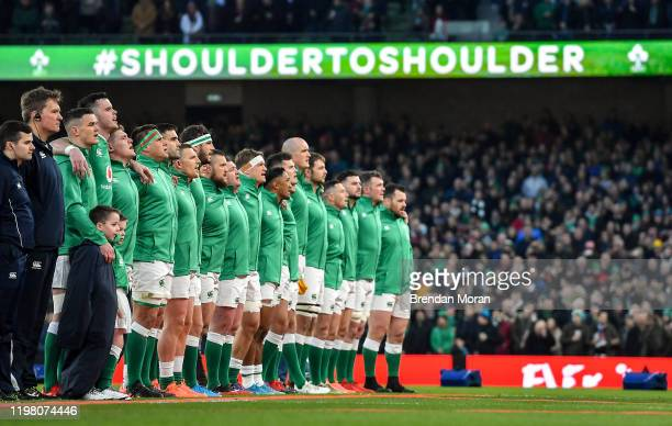 Dublin Ireland 1 February 2020 The Ireland team stand for Amhrán na bhFiann prior to the Guinness Six Nations Rugby Championship match between...