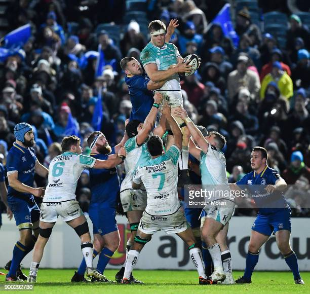 Dublin Ireland 1 January 2018 James Cannon of Connacht wins a lineout from Ross Molony of Leinster during the Guinness PRO14 Round 12 match between...