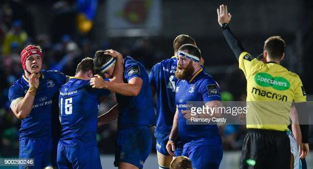 Dublin Ireland 1 January 2018 Leinster players including Bryan Byrne and Max Deegan celebrate a late penalty during the Guinness PRO14 Round 12 match...