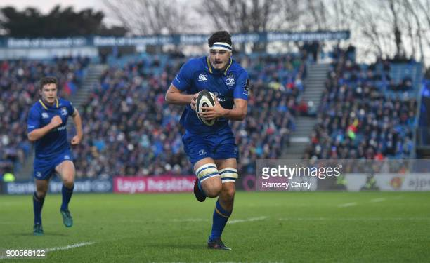 Dublin Ireland 1 January 2018 Max Deegan of Leinster runs in to score his side's first try during the Guinness PRO14 Round 12 match between Leinster...