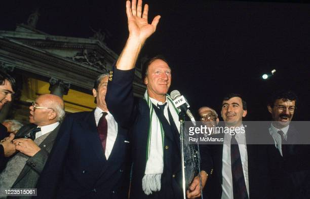 Dublin Ireland 1 July 1990 Republic of Ireland manager Jack Charlton waves to supporters during a homecoming reception on College Green in Dublin...