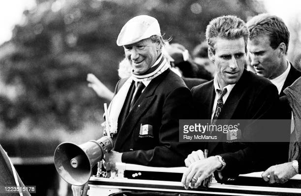 Dublin Ireland 1 July 1990 Republic of Ireland manager Jack Charlton left and captain Mick McCarthy as they are brought by open top bus from Dublin...