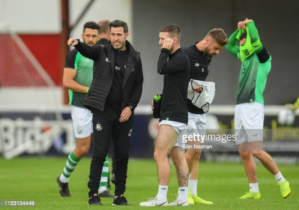 Dublin Ireland 1 July 2019 Shamrock Rovers manager Stephen Bradley speaking with Jack Byrne ahead of the SSE Airtricity League Premier Division match...