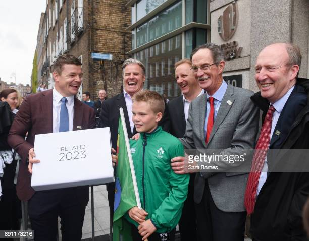 Dublin Ireland 1 June 2017 In attendance at the hand in of the IRFU Rugby bid submission for the 2023 Rugby World Cup are from left Bid ambassador...