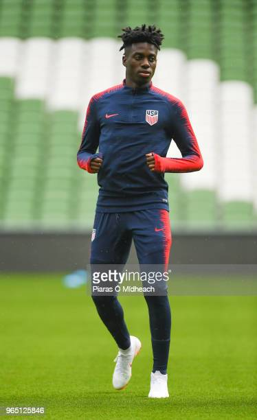 Dublin Ireland 1 June 2018 Tim Weah during a USA training session at the Aviva Stadium in Dublin