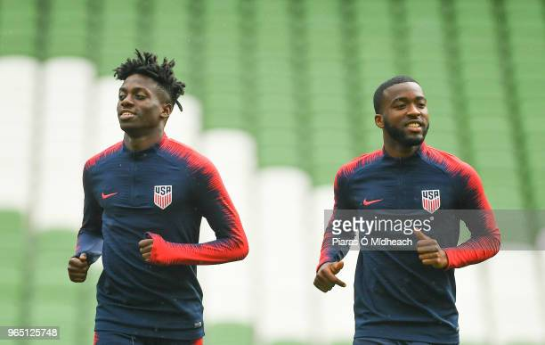 Dublin Ireland 1 June 2018 Tim Weah left and Shaq Moore during a USA training session at the Aviva Stadium in Dublin