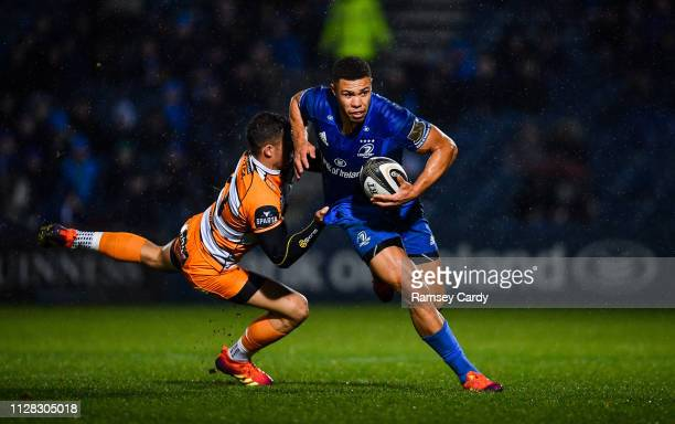 Dublin Ireland 1 March 2019 Adam Byrne of Leinster is tackled by Shaun Venter of Toyota Cheetahs during the Guinness PRO14 Round 17 match between...
