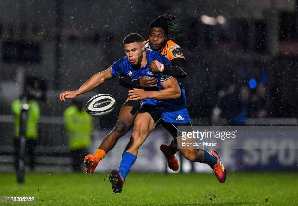 Dublin Ireland 1 March 2019 Adam Byrne of Leinster kicks through as is tackled by Rabz Maxwane of Toyota Cheetahs during the Guinness PRO14 Round 17...