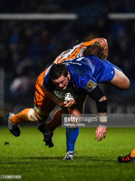 Dublin Ireland 1 March 2019 Andrew Porter of Leinster is tackled by Luan de Bruin of Toyota Cheetahs during the Guinness PRO14 Round 17 match between...