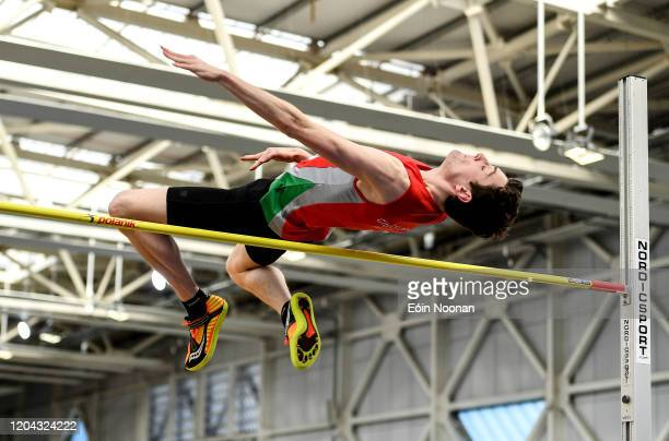Dublin Ireland 1 March 2020 Adam Hill of City of Lisburn AC Antrim competing in the Senior Men's High Jump event during Day Two of the Irish Life...