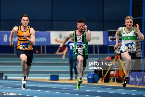 Dublin Ireland 1 March 2020 Athletes from left Conor Morey of Leevale AC Cork Dean Adams of Ballymena and Antrim AC and Sean O'Driscoll of Raheny...