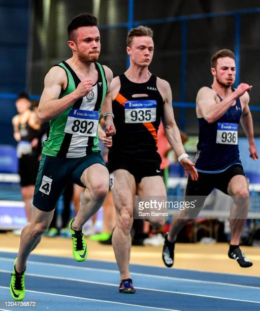 Dublin Ireland 1 March 2020 Athletes from left Dean Adams of Ballymena and Antrim AC Keith Pike of Clonliffe Harriers AC Dublin and Connor Potts of...
