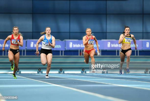 Dublin Ireland 1 March 2020 Athletes from left Lauren Roy of City of Lisburn AC Antrim Sive O'Toole of St L O'Toole AC Carlow Sarah Quinn of St...