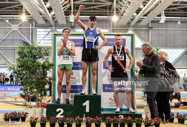 Dublin Ireland 1 March 2020 Athletics Ireland President Georgina Drumm right and 3time Olympian Eamonn Coghlan second from right with Senior Men's...
