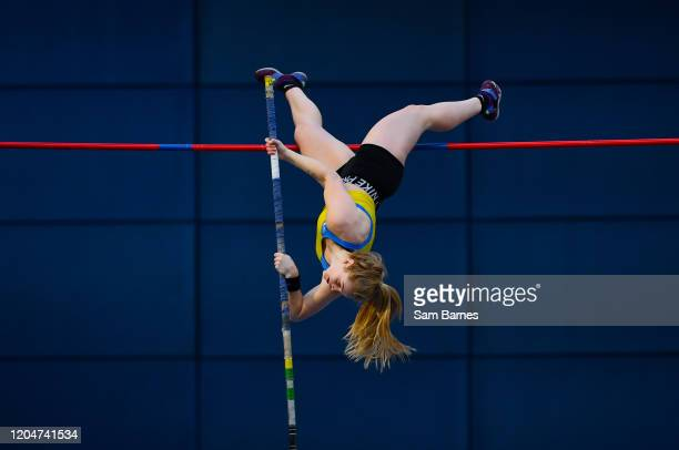 Dublin Ireland 1 March 2020 Clodagh Walsh of Abbey Striders AC Cork competing in the Senior Women's Pole Vault event during Day Two of the Irish Life...