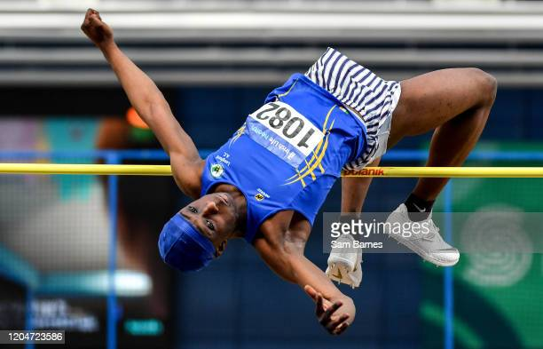 Dublin Ireland 1 March 2020 Nelvin Appiah of Longford AC competing in the Senior Men's High Jump event during Day Two of the Irish Life Health...