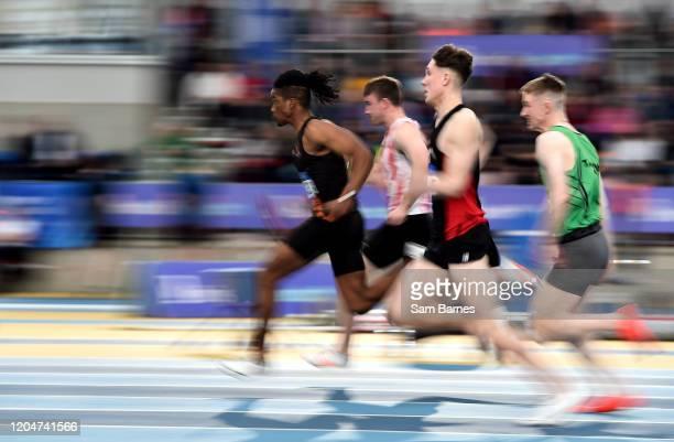Dublin , Ireland - 1 March 2020; Rolus Olusa of Clonliffe Harriers AC, Dublin, left, competing in the Senior Men's 60m Hurdles event during Day Two...