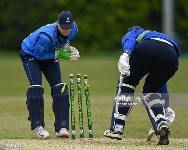 Dublin , Ireland - 1 May 2021; Boyd Rankin of North West Warriors is run out by Leinster Lightning wicketkeeper Lorcan Tucker to end the innings...