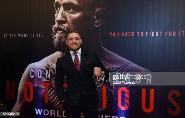 Dublin Ireland 1 November 2017 Conor McGregor arrives at the Conor McGregor Notorious film premiere at the Savoy Cinema in Dublin