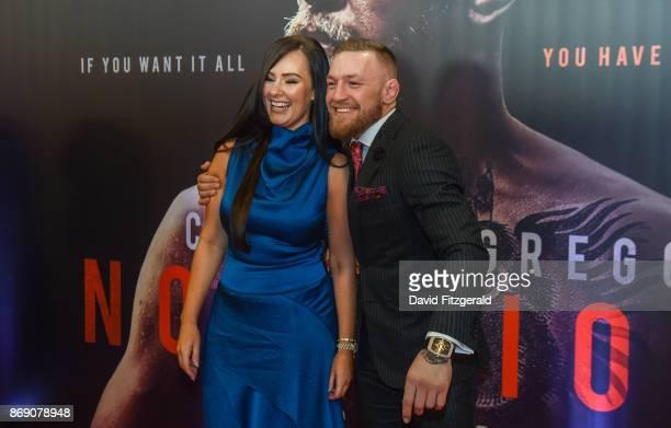 Dublin Ireland 1 November 2017 Conor McGregor arrives with his partner Dee Devlin at the Conor McGregor Notorious film premiere at the Savoy Cinema...