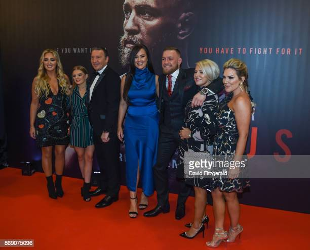Dublin Ireland 1 November 2017 Conor McGregor arrives with his family and partner Dee Devlin to the Conor McGregor Notorious film premiere at the...