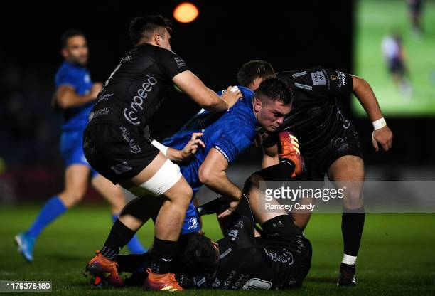 Dublin , Ireland - 1 November 2019; Conor O'Brien of Leinster is tackled by Ollie Griffiths, left, Sam Davies, centre, and Connor Edwards of Dragons...